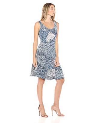 MSK Women's Flounce Hem Dress Featuring an All Over Peacock Print
