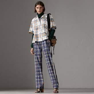 Burberry Short-sleeve Scribble Check Cotton Shirt