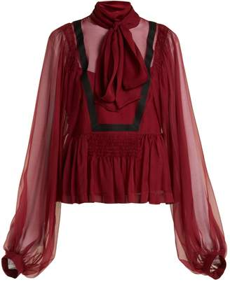 Rochas Tie-neck silk-chiffon blouse