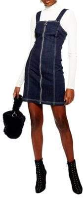 Topshop Denim Stretch Pinafore Dress