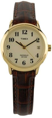Timex Ladies Easy Reader with Brown Leather Strap & White Dia