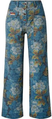 Kenzo Floral-print High-rise Straight-leg Jeans - Blue