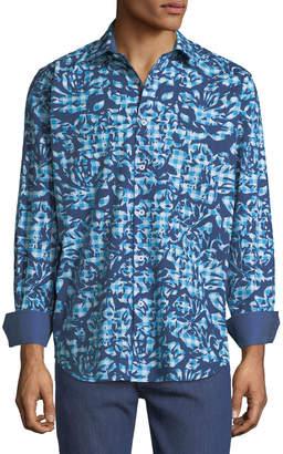 Bugatchi Classic-Fit Floral-Cutout Gingham Sport Shirt