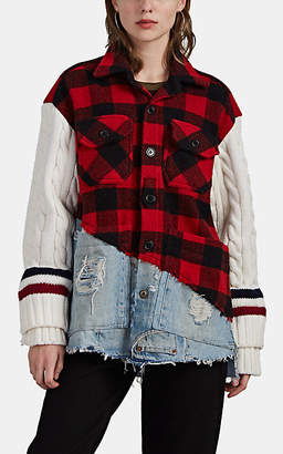 Greg Lauren Women's Buffalo-Checked Wool & Denim Studio Jacket - Red Pat.