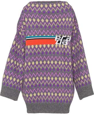 Prada Shetland logo intarsia sweater