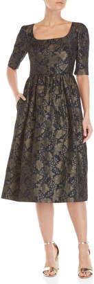 Cm.100 Metallic Floral Brocade Midi Dress