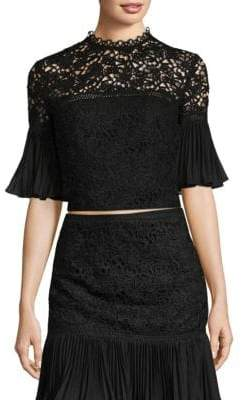 AMUR Paris Lace Bell-Sleeve Top