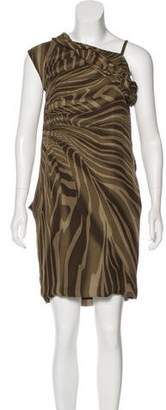 Gucci Silk Leather-Trimmed Dress