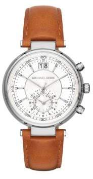 Michael Kors Sawyer Stainless Steel and Leather Strap Chronograph Watch