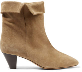 Isabel Marant Dyna Suede Ankle Boots - Beige