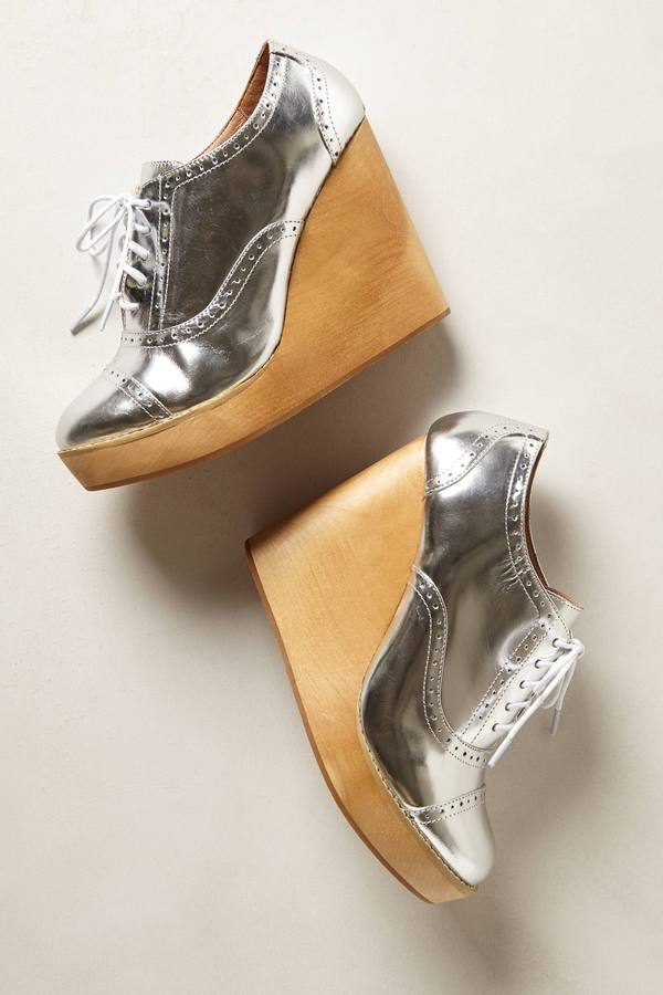 Anthropologie Glossed Oxford Wedges