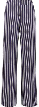 Diane von Furstenberg Striped Satin-twill Wide-leg Pants - Navy