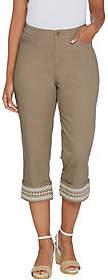 Denim & Co. Stretch Twill Embroidered CuffCapri Pants