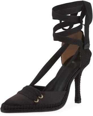 Castaner Satin Ankle-Wrap Espadrille Pumps, Black