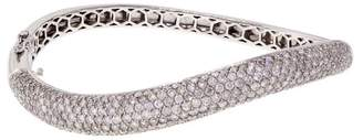 14K White Gold & 6.02ct. Diamond Swirl Bangle Bracelet