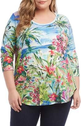 Karen Kane Tropical Shirttail Tee