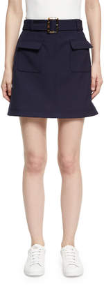ALEXACHUNG Alexa Chung Patch Pocket Cotton Mini Skirt, Navy