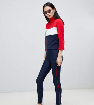Monki side Stripe leggings in navy