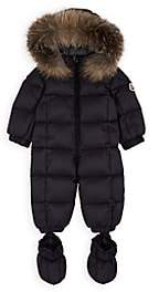 Moncler Infants' Fur-Trimmed Down-Quilted Snowsuit-Navy