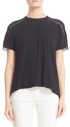 Women's Belstaff Edith Lace Inset Jersey Tee $325 thestylecure.com