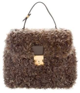 Marc Jacobs Leather-Trimmed Fur Bag Brown Leather-Trimmed Fur Bag