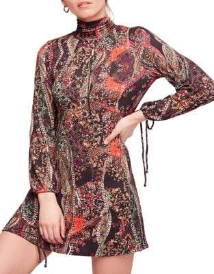 Free People Printed Fit--Flare Mini Dress