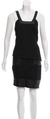 Helmut Lang Leather-Accented Mini Dress