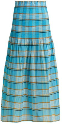 Diane von Furstenberg Horizon Checked Skirt - Womens - Blue Print