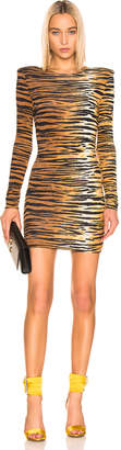 Alexandre Vauthier Long Sleeve Mini Dress in Tiger | FWRD