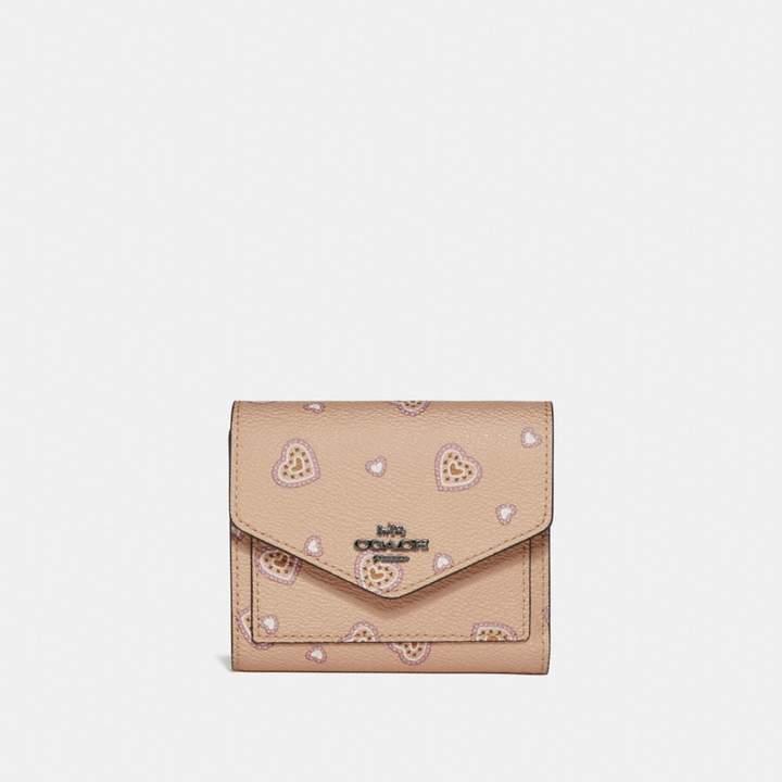 Coach New YorkCoach Small Wallet With Western Heart Print - BEECHWOOD WESTERN HEART/DARK GUNMETAL - STYLE