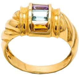 14K Yellow Gold with Amethyst Topaz Citrine & Peridot Ring Size 7