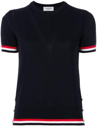 Thom Browne Crew Neck Short Sleeve Tee With Red, White And Blue Tipping Stripe In Cotton Crepe