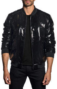 Men's Patent Faux-Leather Bomber Jacket