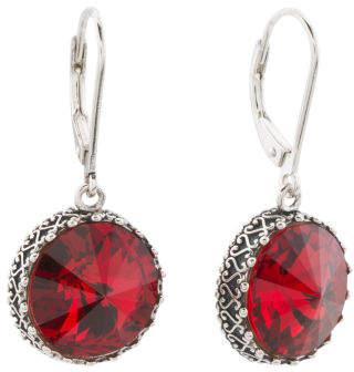 Sterling Silver Swarovski Crystal Scarlet Circle Earrings
