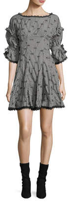 Jonathan Simkhai Smocked Gingham Relaxed Flared Dress