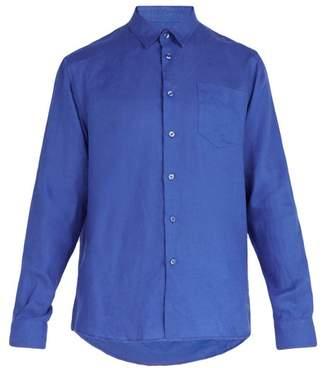 Vilebrequin Caroubis Point Collar Linen Shirt - Mens - Blue