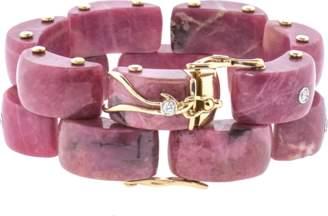 FEDERICA RETTORE Panthere Rhodonite And Diamond Bracelet