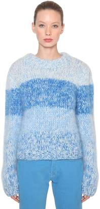 Ganni Julliard Striped Mohair Knit Sweater