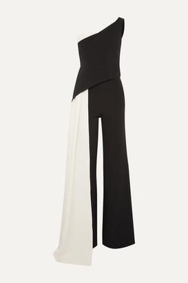 Safiyaa Kimiko One-shoulder Draped Two-tone Crepe Jumpsuit - Black