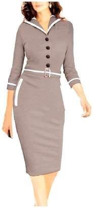 Unastar Women's Audrey Hepburn Style 3/4 Sleeve Pencil Dress with Belt Grey XL