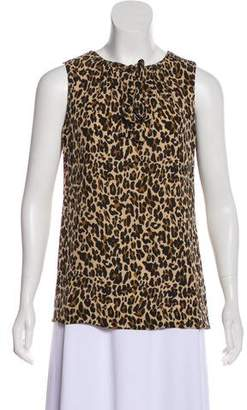 Tory Burch Silk Leopard Print Top