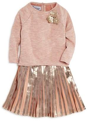 Pippa & Julie Girls' High/Low Top, Metallic Dress & Bloomers Set - Little Kid
