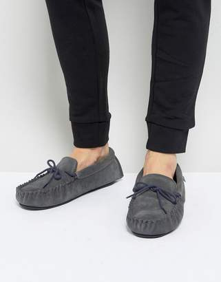Dunlop Moccasin Slippers In Grey Suede