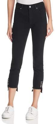 Mavi Jeans Tess Skinny Step-Hem Jeans in Black Piercing Gold