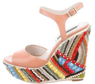 Alice + Olivia Embellished Wedge Sandals