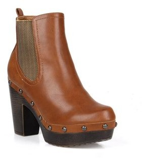 Nature Breeze Chunky Heel Women's Clog Booties in Cognac