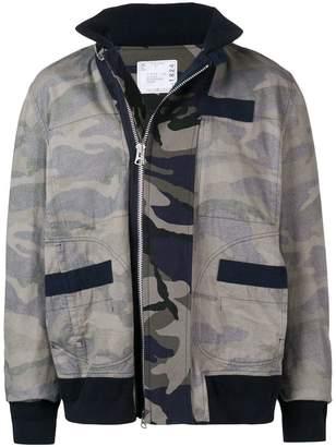 Sacai camouflage print bomber jacket