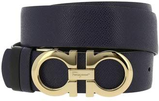 Salvatore Ferragamo Belt Adjustable And Reversible Gancini Belt In Genuine Score Leather