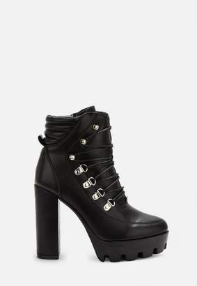 Missguided Black Lace Up Chunky Heel Hiking Boots