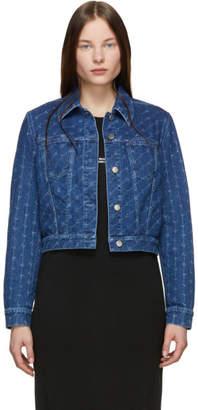 Stella McCartney Blue Monogram Denim Cropped Jacket